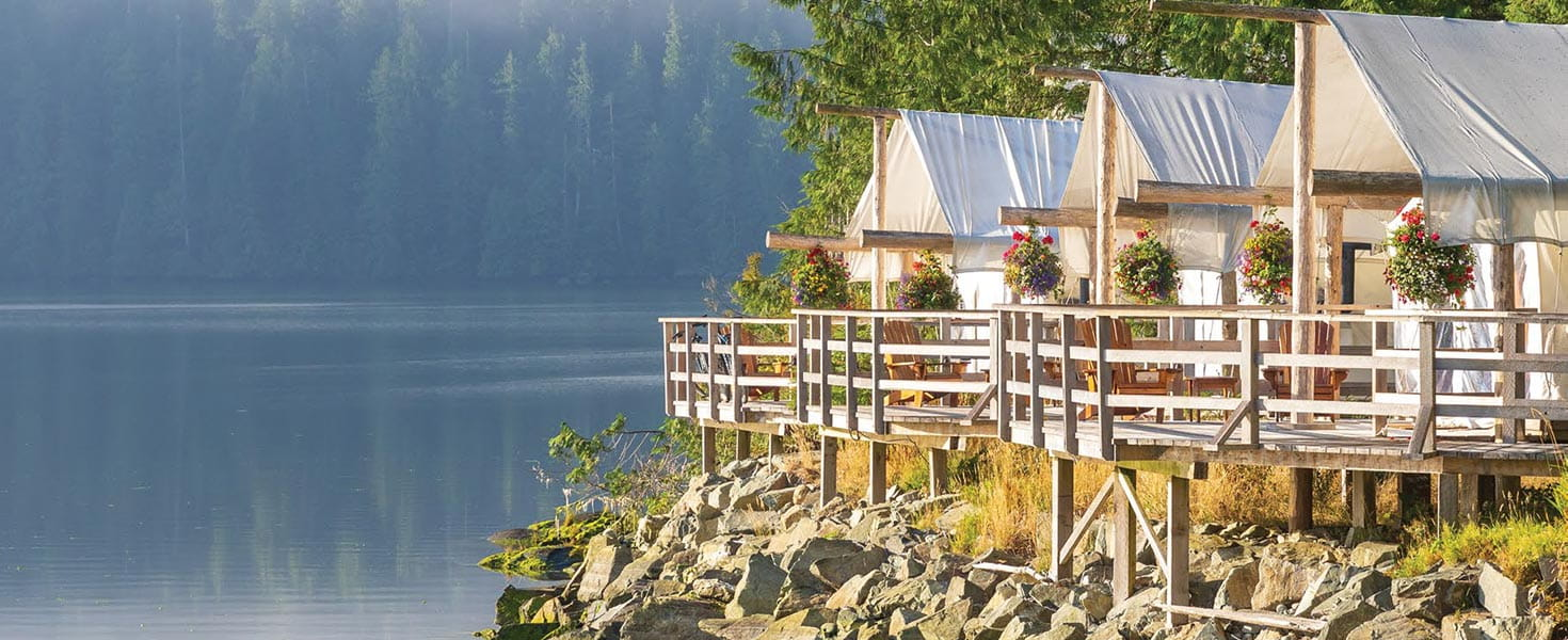 The Clayoquot Wilderness Resort offers artfully arranged luxury accommodations on Vancouver Island.